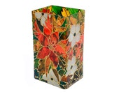 Hand Painted Glass Vase hand painted glass candle holder orange lilly botanical design floral design home decor