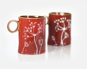 Hand Painted Ceramic Mugs Brown Rustic Autumn Fall Coffee Mugs Queen Anne's Lace Design Minimal Kitchen Decor - Set of 2 Mugs