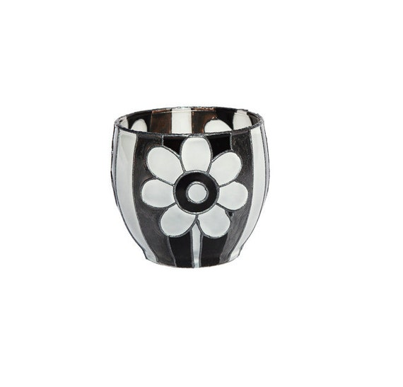 Hand Painted Glass Candle Holder Black and white abstract Flower botanical design home decor kitchen decor Decorative Glass Art