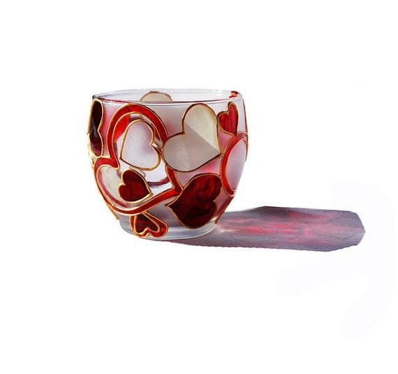 Valentines Day Gift Hand Painted Glass Candle Holder Abstract modern Hearts red and white home decor  Decorative Glass Art