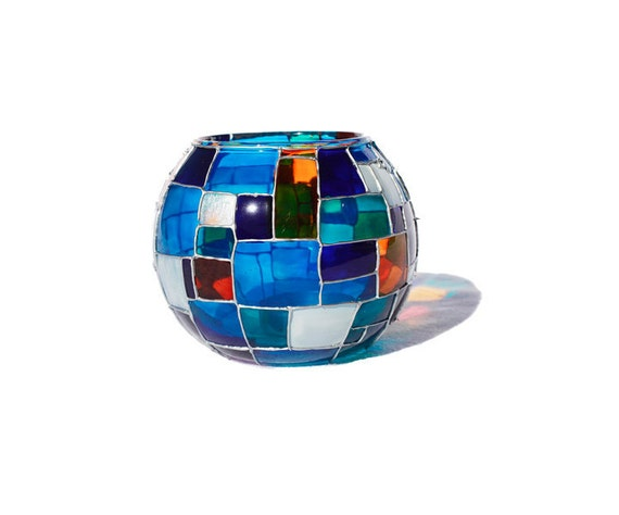 Vibrant Blue Quilt Design Candle Holder - Decorative Glass Art