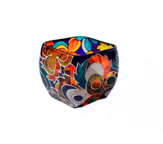 Hand Painted Glass Candle Holder  Colorful Glass Vase Home Decor Kitchen Decor  Decorative Glass Art