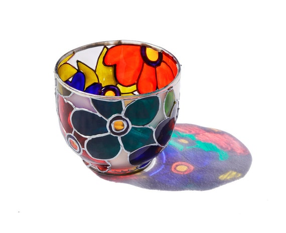 Glass Candle holder hand painted  glass candle holder colorful home decor tea light candle abstract art  floral design- Decorative Glass Art