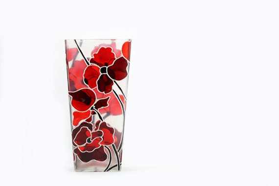 Hand Painted Glass Vase Glass Candle Holder Flower Botanical Abstract Red Poppies Modern  Home Decor