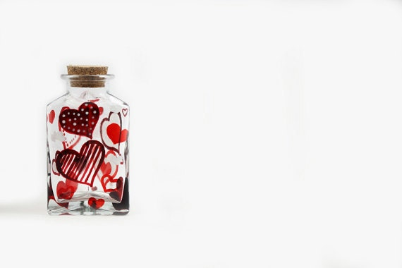 Hand Painted Glass Bottle with red hearts  - Decorative Glass Art