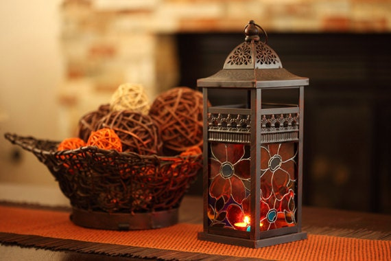 Hanging Candle Lantern - Hand Painted Glass & Metal - Fall Autumn Decor Copper Warm Colors Outdoor Decoration Christmas Decoration