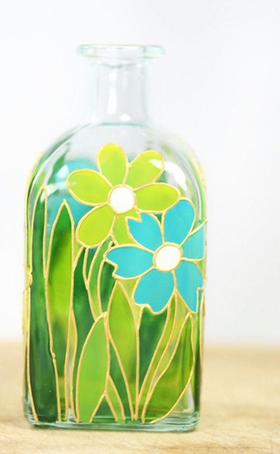 Hand painted glass bottle spring summer flower botanical for Remove paint from glass bottle