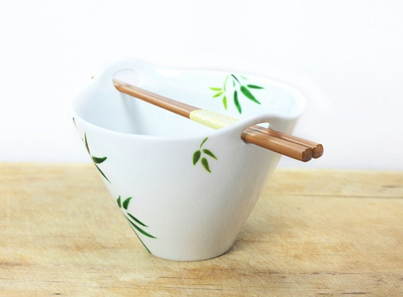 Hand Painted Ceramic Noodle Bowl With Chopsticks Green Bamboo