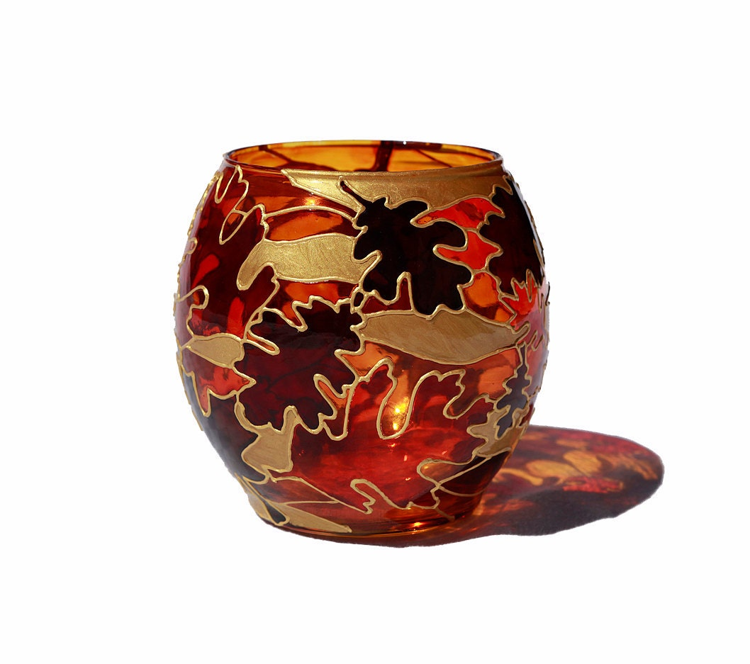 Autumn Leaves Hand Painted Candle Holder Decorative Glass