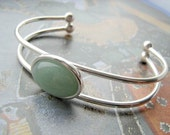 Green Aventurine double banded adjustable cuff bangle