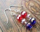 Red white and blue beaded dangle earrings