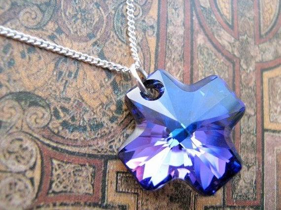 Sterling silver blue & purple Swarovski crystal cross necklace