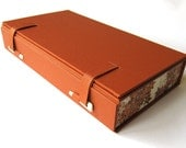 Pencil case / keepsake box - ochre with Chiyogami autumn maple leaves