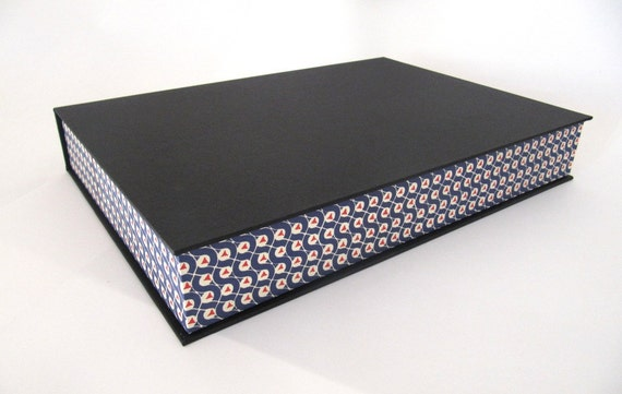 A4 Solander archival box with blue and red triangle Florentine paper
