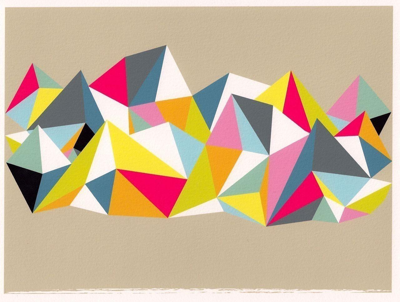 Abstract Art Geometric Print Wall Art Triangle Colorful