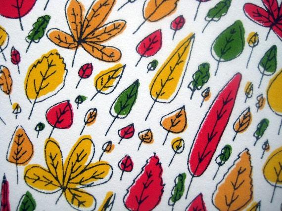 SALE. Heart shaped multi-coloured leafy illustration screen print 'Lovely Leaves' - ltd edition. Great Wedding gift. UK seller