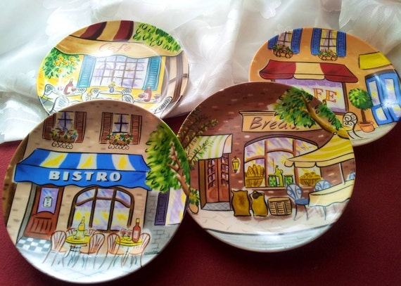 """Set of 4 6"""" Plates with Cafe Scenes"""