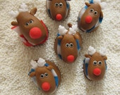 Mini Reindeer Brothers Cake Pop Toppers  (12 mini size/ Edible Fondant)