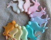 Easter Bunny Cupcake Toppers (24 Bunnies and 1 Happy Easter Plate)