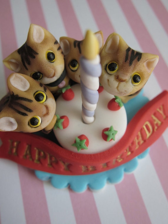Cake Toppers Birthday Etsy : Items similar to Kittens & Candle Cake Birthday Topper on Etsy