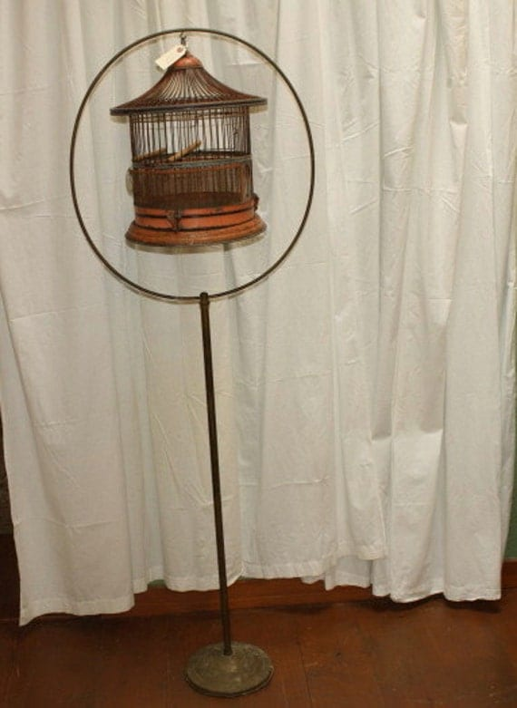 Antique Bird Cage In Brass Stand Victorian Original Patina