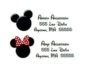 Mickey and Minnie Mouse Inspired Return Address Labels - Pink or Red Bow -  You Print