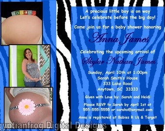 Zebra Baby Shower Invitation Digital File - Any Color - You Print
