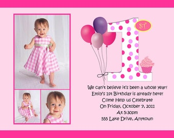 First Birthday Pink Birthday Invitation - MANY Designs to Choose From - You Print