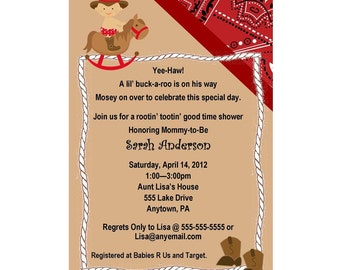 Western Cowboy Baby Shower Invitation - Bandana, Rocking Horse, Baby, & Boots -  You Print