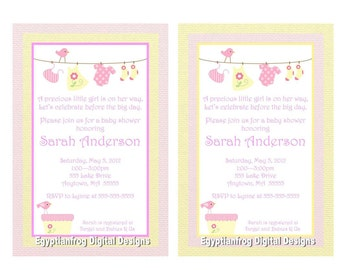Baby Girl Laundry Baby Shower Invitation - Pink or Yellow - You Print