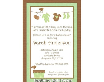 Neutral Laundry Baby Shower Invitation - Green, Sage, Brown - You Print