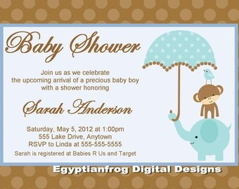 Jungle Safari Baby Shower Invitation -MANY Colors - Animals with Umbrella - You Print