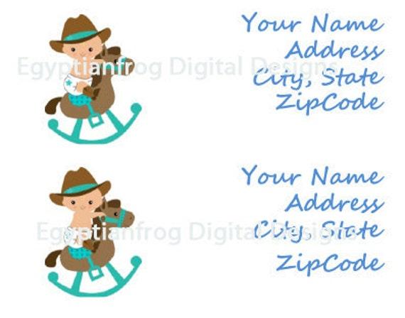 Baby Shower Cowboy Rocking Horse Return Address Labels - You Print