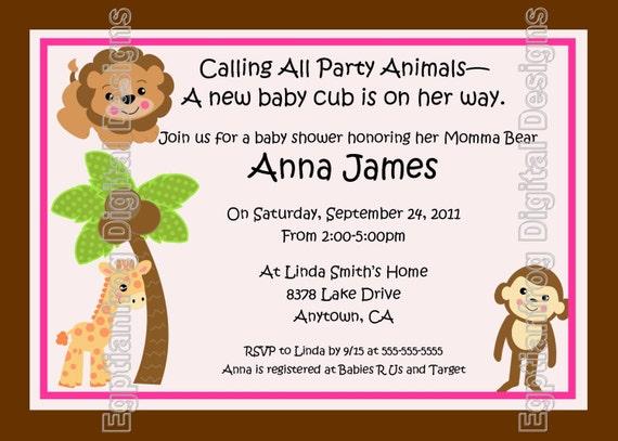 Baby Jungle/Safari Baby Shower Invitation - You Print