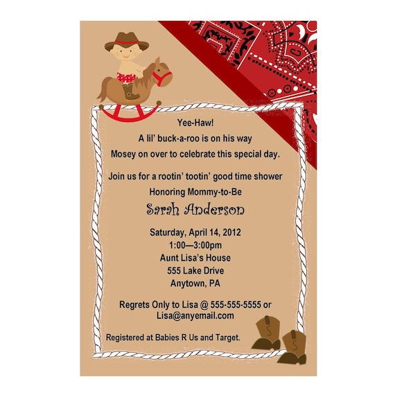 western cowboy baby shower invitation red or blue you, Baby shower invitations