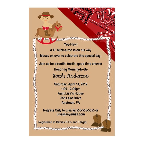 Western Cowboy Baby Shower Invitation Red or Blue You