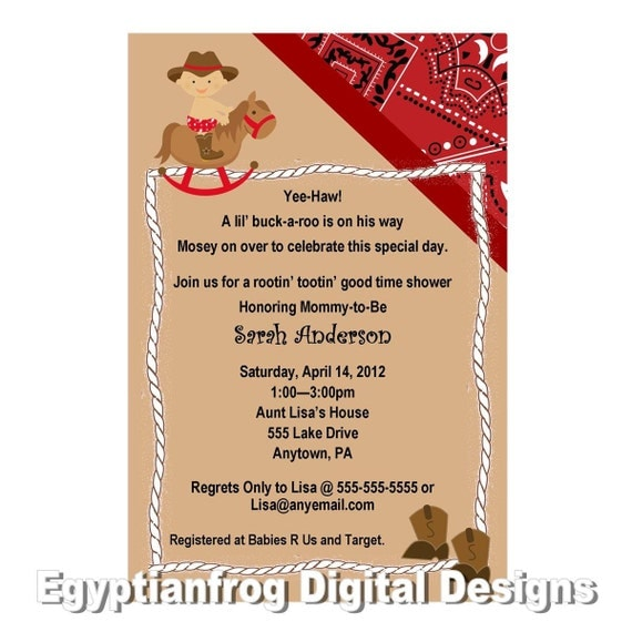 western cowboy baby shower invitation bandana rocking horse baby
