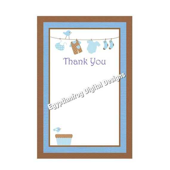 baby boy laundry baby shower coordinating thank you notes blue and