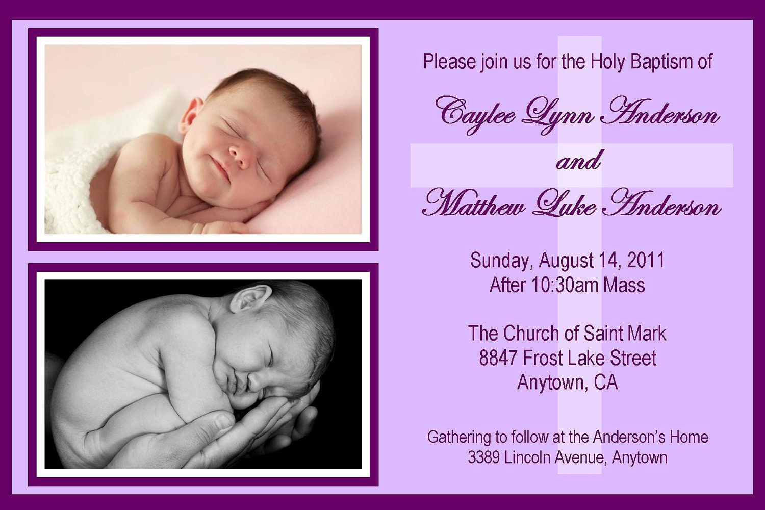 Twins baptism invitation any color could be birth zoom stopboris