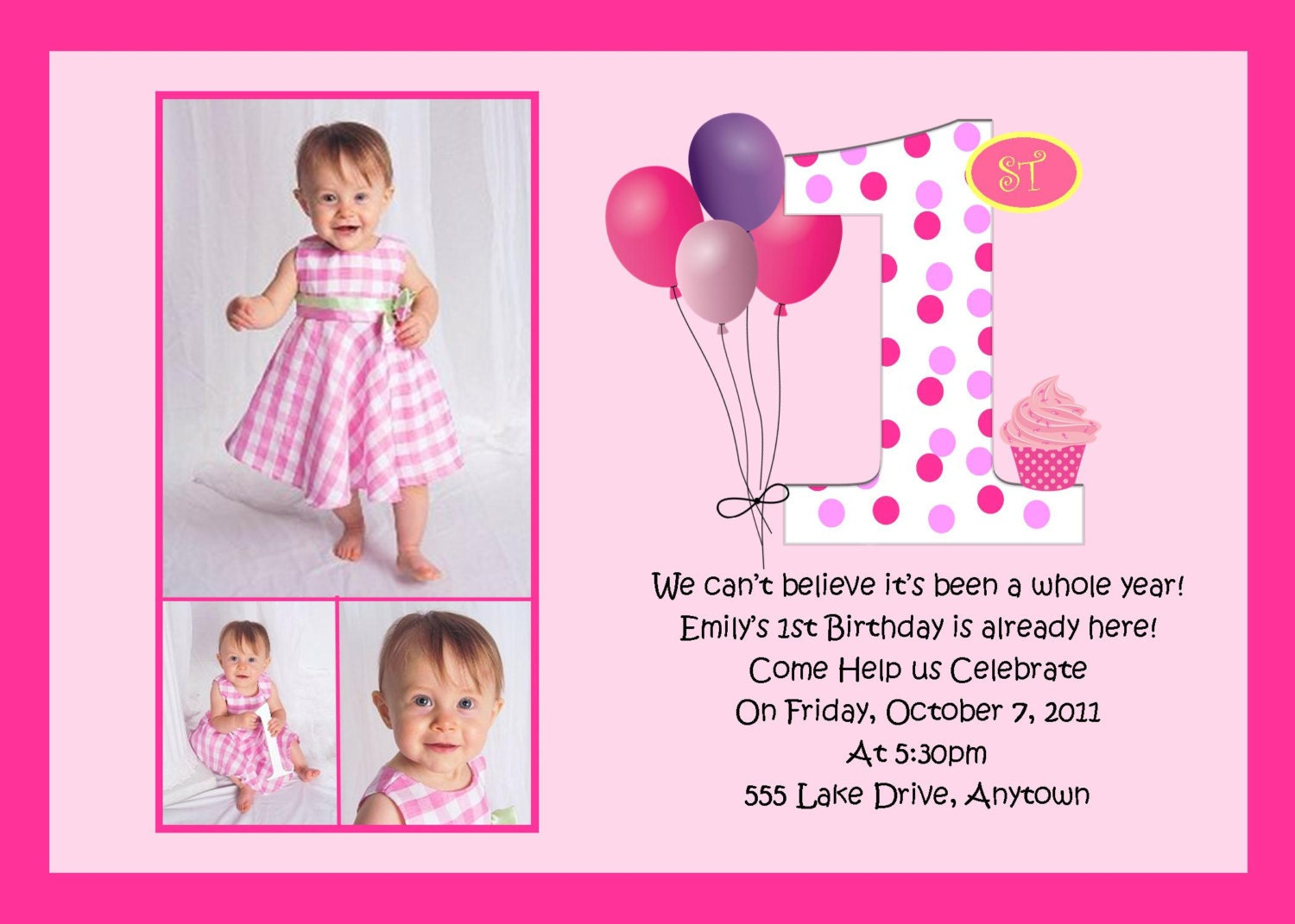 First Birthday Pink Birthday Invitation MANY Designs to – Free First Birthday Invitations Templates