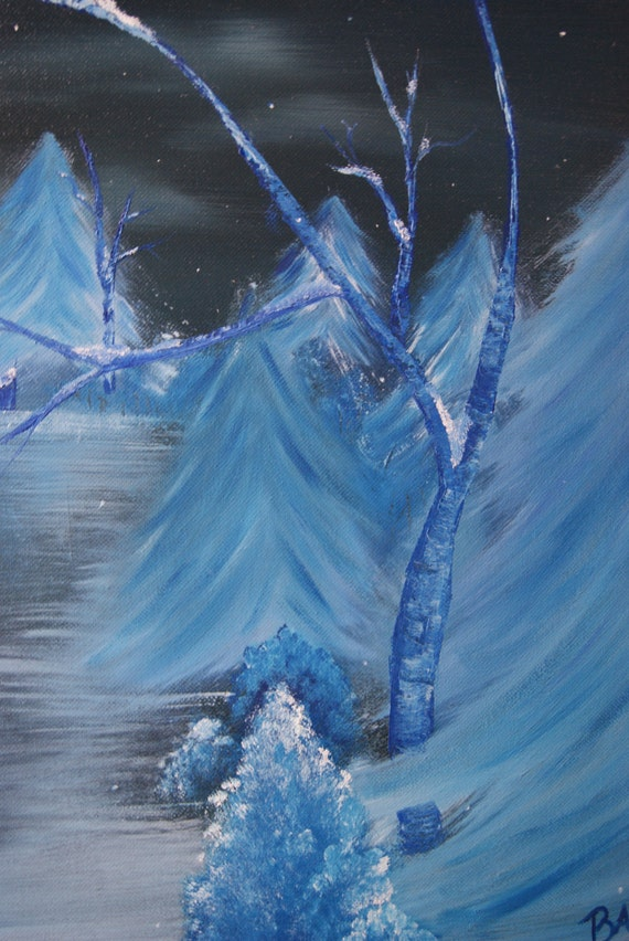 "16x20 inch Original Monochrome Oil Painted Landscape On Canvas, Winter, Snow, Night Sky, Blue Birch Trees, Evergreens, ""Blue Winter"""