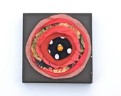 Vintage Fabric Flower Wooden Wall Hanging- small