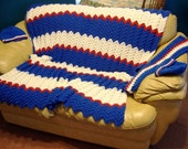 Reserved for peacedog15 NY Giants Colors Afghan Hand Crochet Free gifts included with purchase