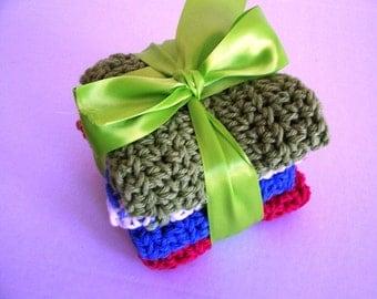 Dish Cloths Pretty Hand Crochet 100% Cotton Yarn
