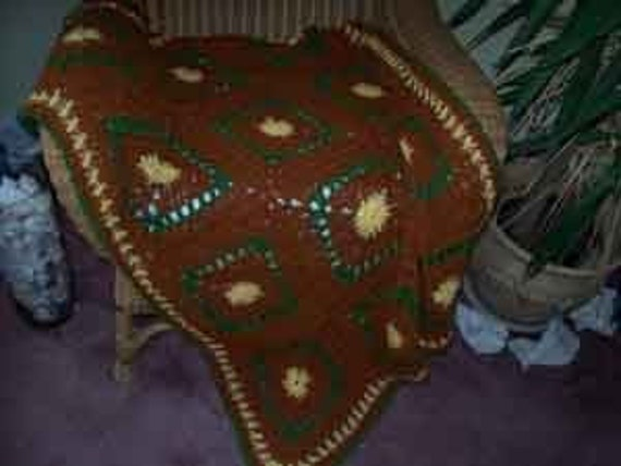 Fall Colors Granny Square Afghan Throw Lap blanket