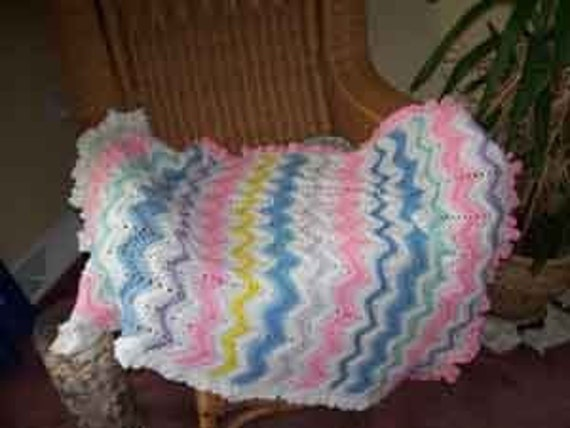 Baby Blanket ZigZag Pink and White Ruffle