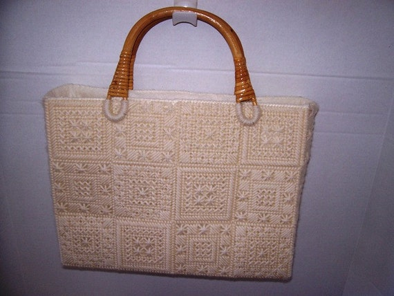 Plastic Canvas Purse with Rattan Handles and Liner