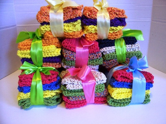 4 pack Dish Cloths Pretty Hand Crochet 100% Cotton Yarn