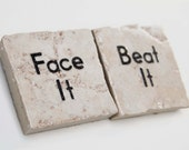 Face It Beat It Inspirational Set of 2 Square Tile Magnets