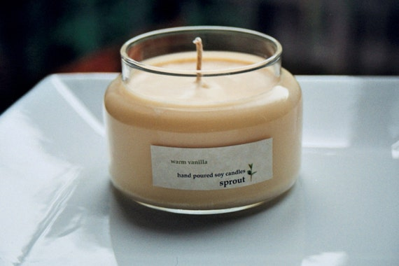 Warm Vanilla Soy Candle - 10 Ounce Apothecary Jar